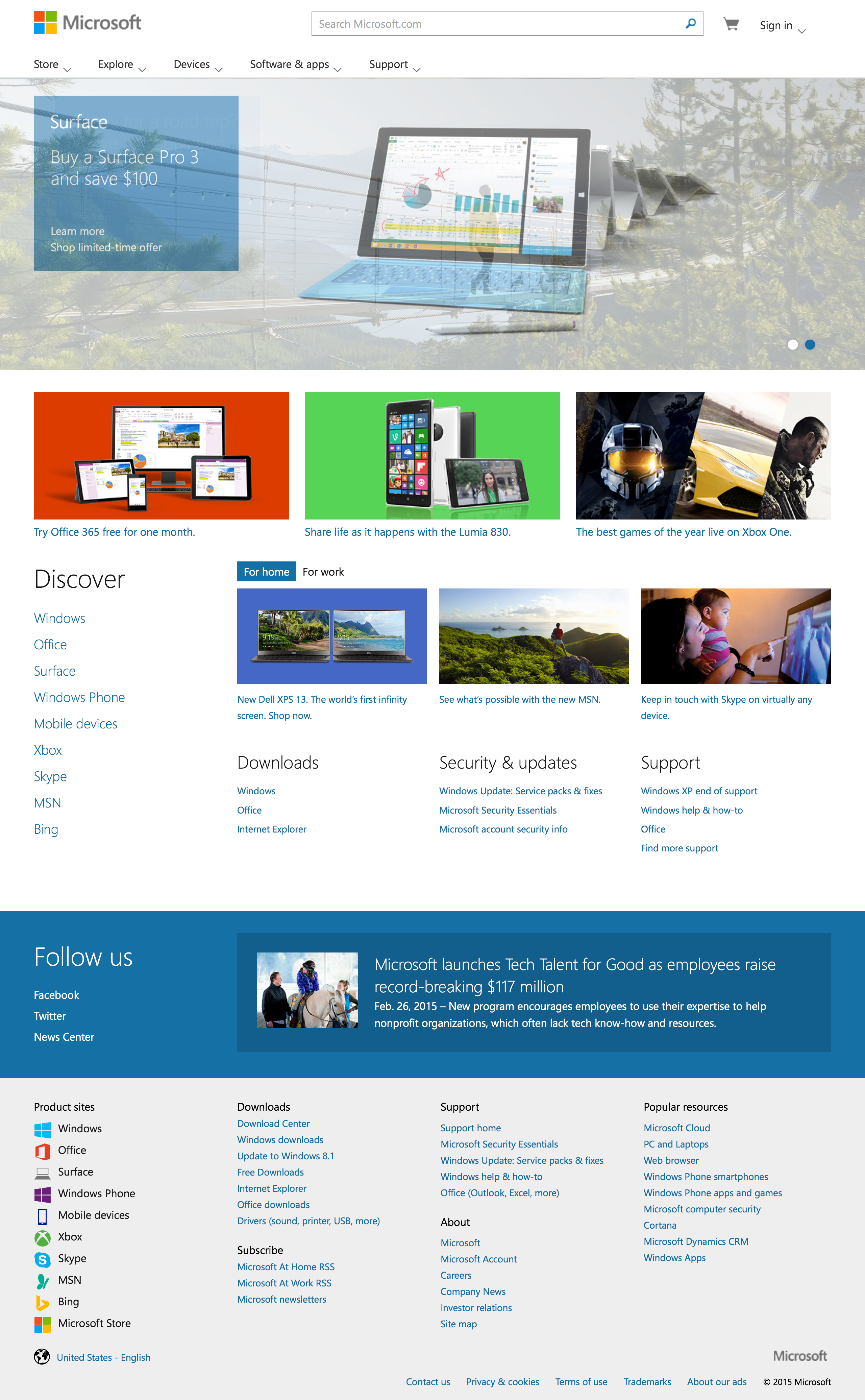 Screenshot of Microsoft official home page